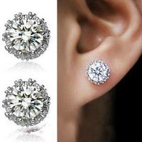 MT0164 Diamond silver crown earrings