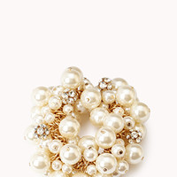 FOREVER 21 Opulent Faux Pearl Bracelet Cream/Gold One