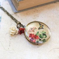 Flower Locket Necklace Rose Charm Long Necklace Butterfly Floral Photo Locket Secret Hiding Place Flower Garden Locket