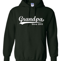 Grandpa Established 2013 Customized With Your Date Long Sleeve Heavy Cotton Comfy Hooded Sweatshirt Great Grandparents Gift