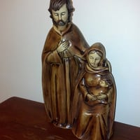 Rustic Nativity Scene, Jesus, Mary and Joseph, Resin Made in Japan