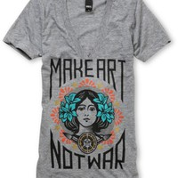 Obey Girls Make Art Not War Grey V-Neck Tee at Zumiez : PDP