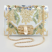 Marchesa Valentina Floral Embroidered Envelope Clutch Bag, Blue/Multi