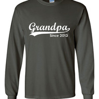 Grandpa Established 2013 Customized With Your Date Long Sleeve Heavy Cotton T Shirt Great Grandparents Gift Grandpa To Be Grandfathers Shirt