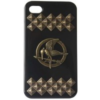 Black Punk Style Bronze Pryamid Studs and Hunger Games mockingjay Decoration Cell phone case for iphone 4 4s Protective Case