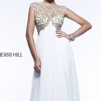 Beaded Bateau Neckline Empire Gown by Sherri Hill