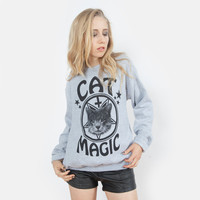 Cat Magic Occult Sweatshirt | Black on Heather Grey | Killer Condo Apparel