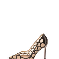 Honeycomb Point-Toe Pump, Black/Nude