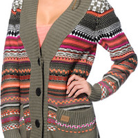 Billabong Girls Danny Olive Oversized Cardigan Sweater
