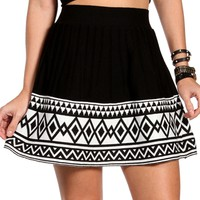 BlackWhite Colorblock Pleated Skirt