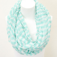 Aqua Ruched Striped Infinity Scarf