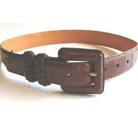 Brighton Brown Vintage Leather Alligator Embossed Belt Italy