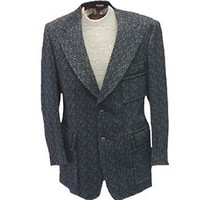 1970s Vintage Suit Jacket Gray Swirling Poly Textured Disco