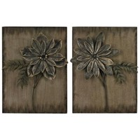 "Set of 2 Promenade Flower 24"" High Contemporary Wall Art - #3M073 
