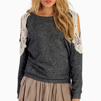 Crochet Open Shoulder Sweater - TOBI