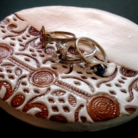 Handmade White and Copper Jewelry Plate