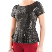All Over Sequin Peplum Top: Dots.com