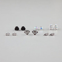 FULL TILT 6 Piece Infinity/Skull/Wings Stud Earrings