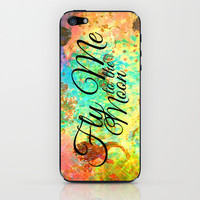 FLY ME TO THE MOON - Rainbow Bold Galactic Outer Space Orbit Stars Abstract Fine Art Typography iPhone & iPod Skin by EbiEmporium