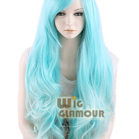 Long 80cm Wavy Light Blue Fashion Hair Wig Heat Resistant