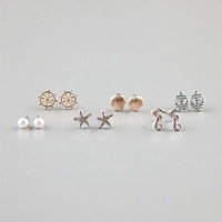 FULL TILT 6 Piece Anchor/Shell/Starfish Stud Earrings