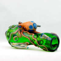 SALE Fish with Octopus Hand Blown Glass Pipe Thick Wall Chillum Artwork