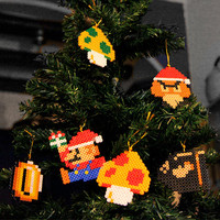 Retro Christmas Tree Decoration Set Super Mario Bros Inspired (6 piece)