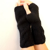 FREE SHIPPING Black Fingerless Gloves - Choose Your Color