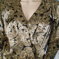 ON SALE Vintage 80's Metallic Gold Print Blouse by Jill Richards