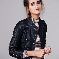 Free People Womens Military Leather Jacket - Black