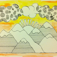 "Watercolor Painting & Ink Drawing - Clouds and Mountains - Trippy and Colorful - 140 lb paper - 15"" x 11"""