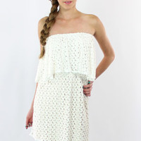 Tbags Emina Strapless Mini Dress in Ivory - On Sale
