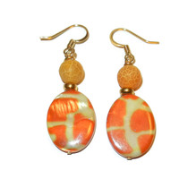 Orange Giraffe Dangle Beaded Earrings