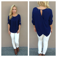 Navy Cross Back Blouse