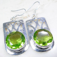 Quartz Peridot 925 Silver Earrings 50mm .August Birthstone ,Silver Dangle Earrings,Gifts under 10,20,30,UK Seller