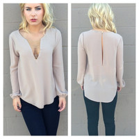 Mocha Long Sleeve Bead Blouse