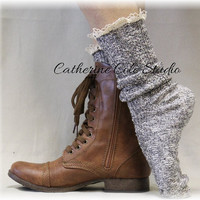 MISS TORI salt n pepper Socks lace boot socks cowboy or combat boot socks womens boot socks cowboy boot socks Catherine Cole Studio SLX204L