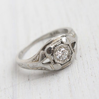 Antique Art Deco 18K White Gold Diamond Ring - Size 7 1920s 1930s Filigree Engagement Fine Jewelry / Embossed Floral