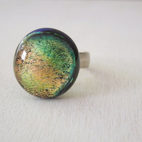 Green Gold Dichroic Ring - Colorful Sparkly Glass Cab on Ox Silver Ring
