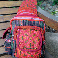 Tribal Backpack One Shoulder Design Ethnic Hmong Embroidery Tangerine and Berry