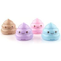 Lovely Portable Mini Poo Face Pencil Sharpener with Two Holes 4 Color