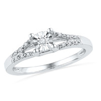 Diamond Accent Split Shank Promise Ring in 10K White Gold