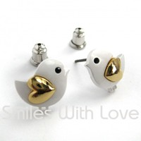 Small Chicken Bird Earrings in Silver with Gold Heart Detail