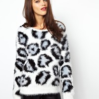 Glamorous Knit Sweater with Lepoard Intarsia
