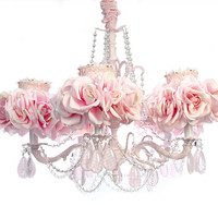 5-Arm Light Pink Chandelier, luxury nusery lighing, floral lighing, shabby chic lamp, shabby chic chandelier, chic sconces, designer chandeliers, nurs