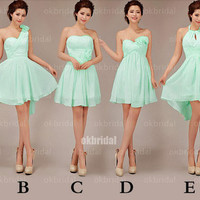 mint bridesmaid dresses, cheap bridesmaid dress, short dress, chiffon bridesmaid dress, mismatch bridesmaid dress, short prom dress, RE330