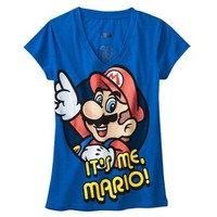 Mario Juniors V Neck Sleep Tee - Blue