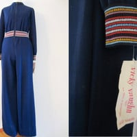60s NOS Wide Leg Jumpsuit w/ Original Tags by Vicky Vaugn Junior, XS-S // Vintage Blue Hippie Folk Bell-Bottom Pantsuit