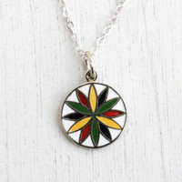 Vintage Petal Rosette Hex Sign Necklace - 1970s Sterling Silver Folk Enamel Jewelry / Dutch Joy and Prosperity
