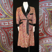 50s Smoking Robe Vintage Rayon Satin Playboy L